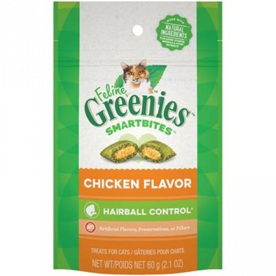 Féline Greenies Smartbites Contrôle des boules de poils au poulet 60 g