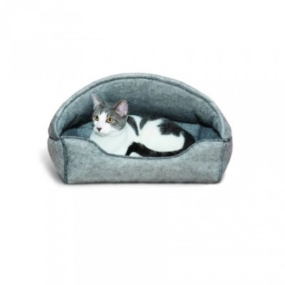 K&H Kitty Hooded Lounger Gris 17x13""