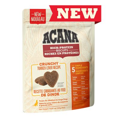ACANA Biscuits (Gros) riches en protéines, recette croquante au foie de dinde 255 g