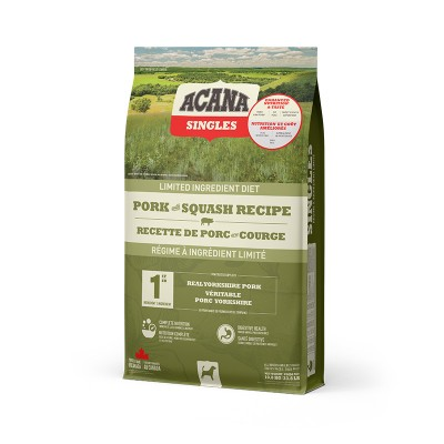 ACANA Chien Singles Porc & Courge 10.8 kg (Nouvel emballage)
